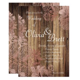 Rustic Wood Rose Lace Wedding Invitation