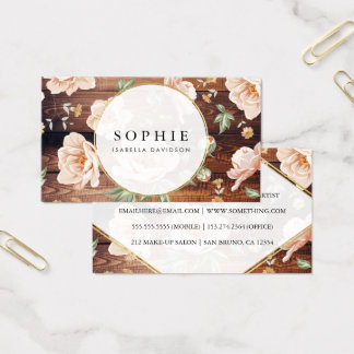 Rustic Wood & Roses | Elegant Gold Floral Modern Business Card