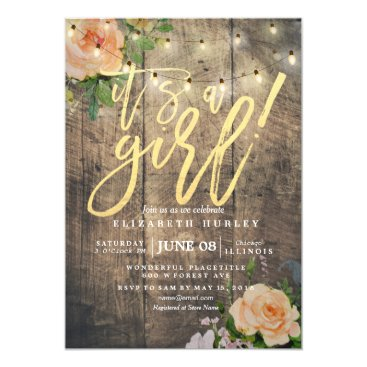 Toddler & Baby themed Rustic Wood Roses Floral String Light Baby Shower Card
