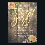 "Rustic Wood Roses Floral String Light Baby Shower Invitation<br><div class=""desc"">Baby Shower Invitation Cards Templates - Faux Gold Foil Script with Peach White Roses Floral and String Lights on Rustic Wood Background.