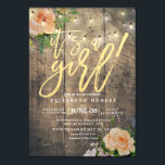 """Rustic Wood Roses Floral String Light Baby Shower Invitation<br><div class=""""desc"""">Baby Shower Invitation Cards Templates - Faux Gold Foil Script with Peach White Roses Floral and String Lights on Rustic Wood Background. All Text Style,  Colors,  Sizes Can Be Modified To Fit Your Needs.</div>"""