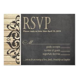 Rustic Wood RSVP Response | blonde chalkboard Card