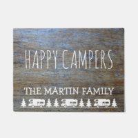 Rustic Wood RV Camping   Happy Campers Custom Name Doormat