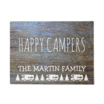 Rustic Wood RV Camping | Happy Campers Custom Name Doormat