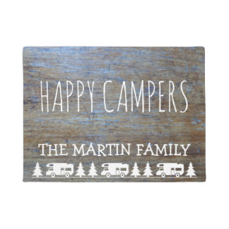 Rustic Wood RV Camping | Happy Campers Custom Name Doormat