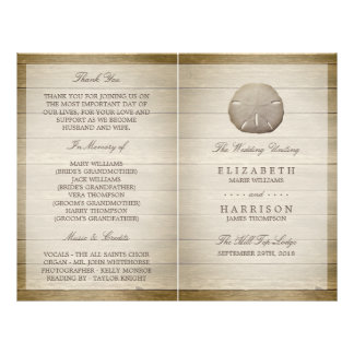 Rustic Wood Sand Dollar Wedding Bi-fold Program Flyer