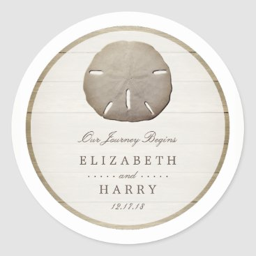 Beach Themed Rustic Wood Sand Dollar Wedding Classic Round Sticker