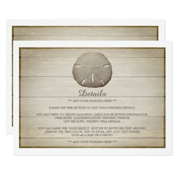 Beach Themed Rustic Wood Sand Dollar Wedding Detail Card