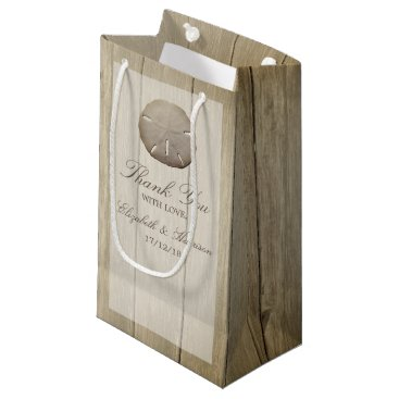 Beach Themed Rustic Wood Sand Dollar Wedding Small Gift Bag