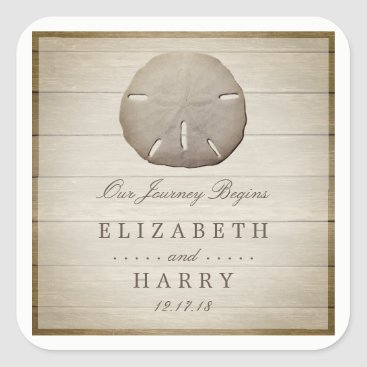 Beach Themed Rustic Wood Sand Dollar Wedding Square Sticker