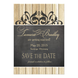 Rustic Wood Save the Date blonde chalkboard Personalized Invites