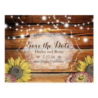 Rustic Wood Save the Date Postcard with Sunflowers