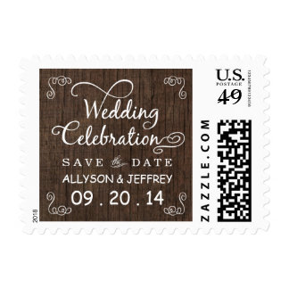 Rustic Wood Save the Date Wedding Postage