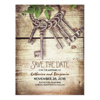 Rustic Wood Save the Date with Skeleton Keys Postcard