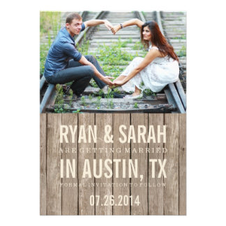 RUSTIC WOOD SAVE THE DATES PERSONALIZED ANNOUNCEMENTS