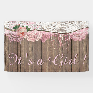 Rustic Wood Shabby Chic Pink Lace Girl Baby Shower Banner