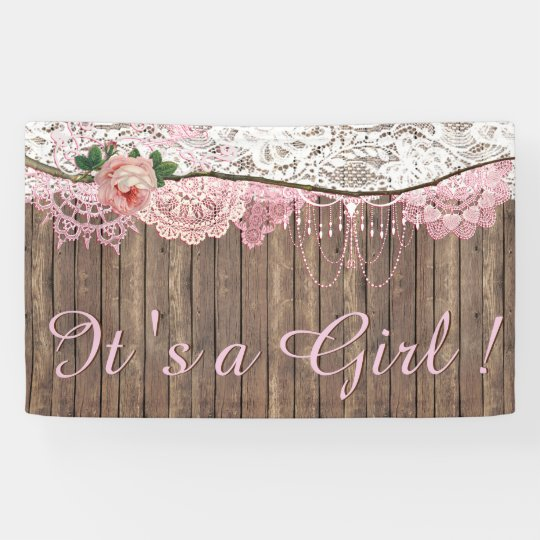 Girly Rustic Chic Bedroom: Rustic Wood Shabby Chic Pink Lace Girl Baby Shower Banner