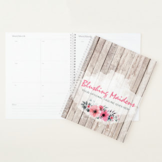 Rustic Wood Shabby Chic Pink Roses Anemone Floral Planner