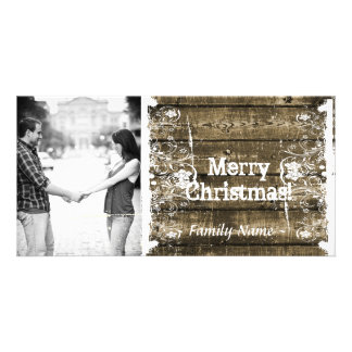 Rustic Wood Shabby Lace Photo Christmas Card