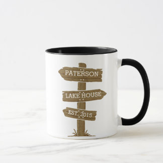 Rustic Wood Signpost Lake House Mug