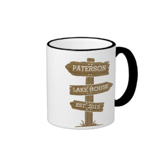 Rustic Wood Signpost Lake House Ringer Coffee Mug