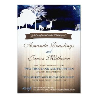 "Rustic Wood & Silhouettes Campground Wedding Invit 5"" X 7"" Invitation Card"
