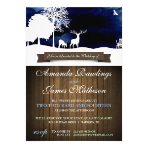 Rustic Wood & Silhouettes Campground Wedding Invit Invitation