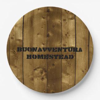 Rustic Wood Slats Customizable Name Paper Plate
