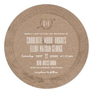 Rustic Wood Slice 5.25x5.25 Square Paper Invitation Card