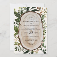 Rustic wood slice wedding invite