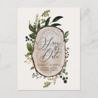 Rustic wood slice wedding save the date invite
