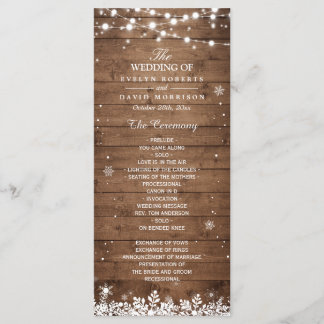 Rustic Wood Snowflakes Winter Wedding Program