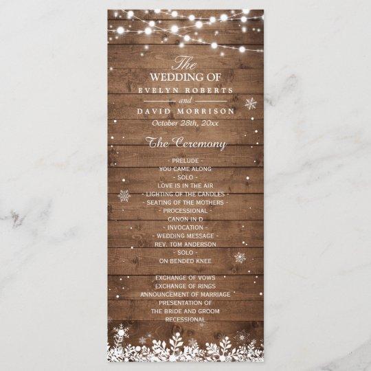 rustic wood snowflakes winter wedding program zazzle com