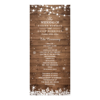 Rustic Wood Snowflakes Winter Wedding Program