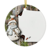 Rustic Wood Snowman Print Ceramic Ornament