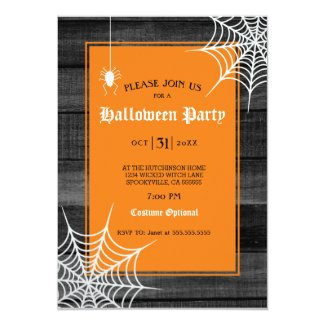 Rustic Wood Spider Cobwebs Halloween Party Invitation