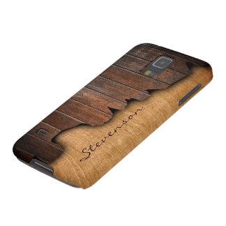 Rustic Wood Splintered Wood Look - Monogram Name Galaxy S5 Cases