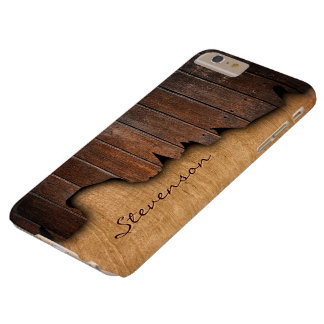 Rustic Wood Splintered Wood Look - Monogram Name Barely There iPhone 6 Plus Case