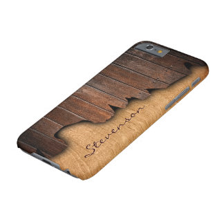 Rustic Wood Splintered Wood Look - Monogram Name Barely There iPhone 6 Case
