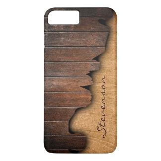 Rustic Wood Splintered Wood Look - Monogram Name iPhone 8 Plus/7 Plus Case