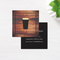 Rustic Wood Square Element Square Business Card at Zazzle