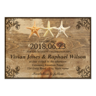 Rustic Wood & Starfish Beach Wedding Save The Date Card