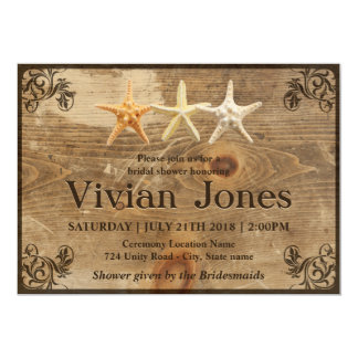 Rustic Wood & Starfish Bridal Shower Invitation