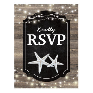 Rustic Wood Starfish RSVP | String of Lights Postcard