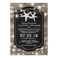 Rustic Wood Starfish Wedding | String of Lights Card