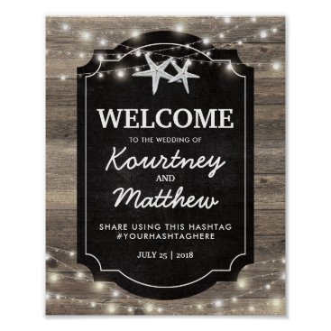 Beach Themed Rustic Wood Starfish Wedding | String of Lights Poster