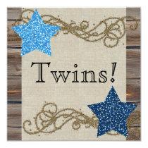 Rustic Wood Stars Twin Boy Baby Shower Invitation