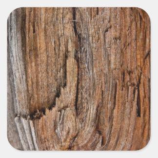 Rustic wood square sticker