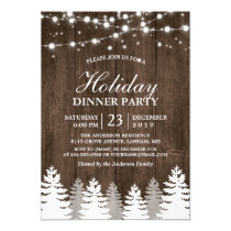 Rustic Wood String Light Pines Tree Holiday Party Card