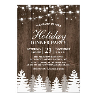 Rustic Wood String Light Pines Tree Holiday Party Card at Zazzle